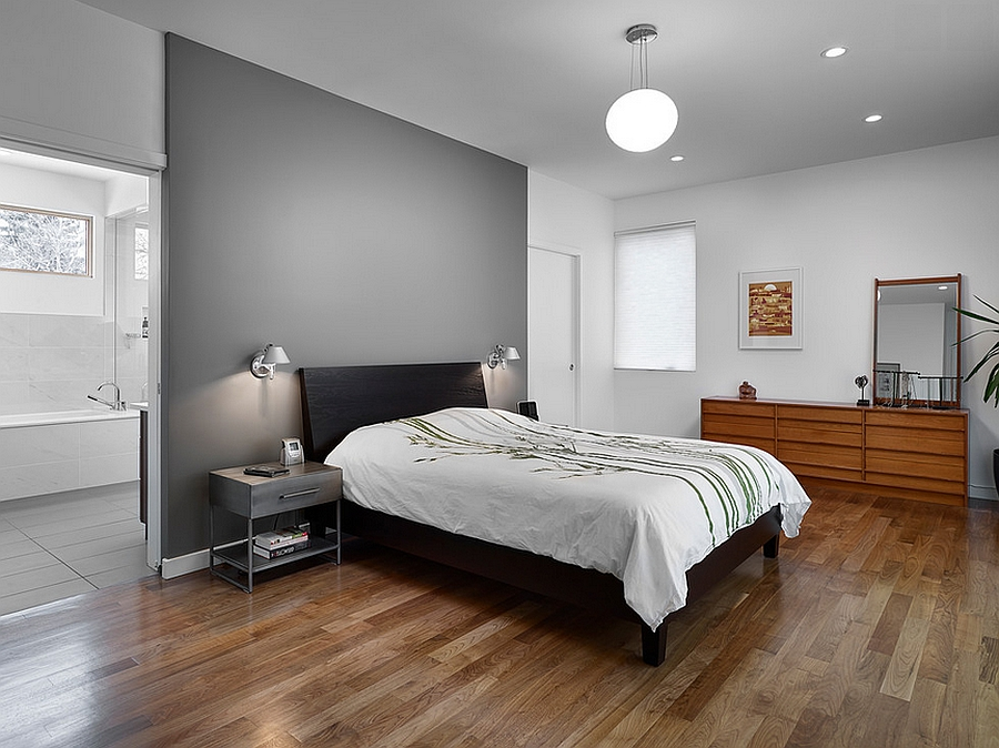 give your bedroom a classy makeover with grey accent wall design