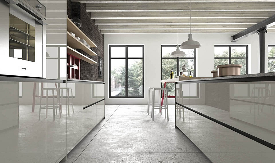 Glossy finish of the cabinets gives the kitchen a semi-minimal look
