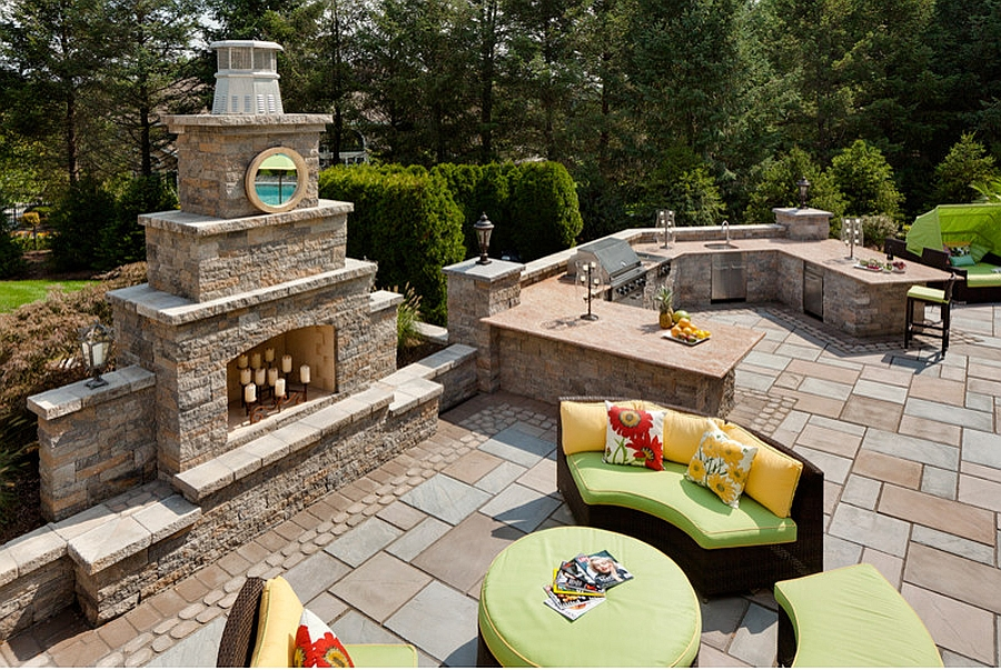 Goregous outdoor fireplace constructed from FireRock at the celebrity home