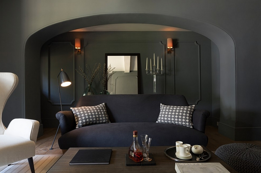 Gorgeous couch steals the show in the elegant living room