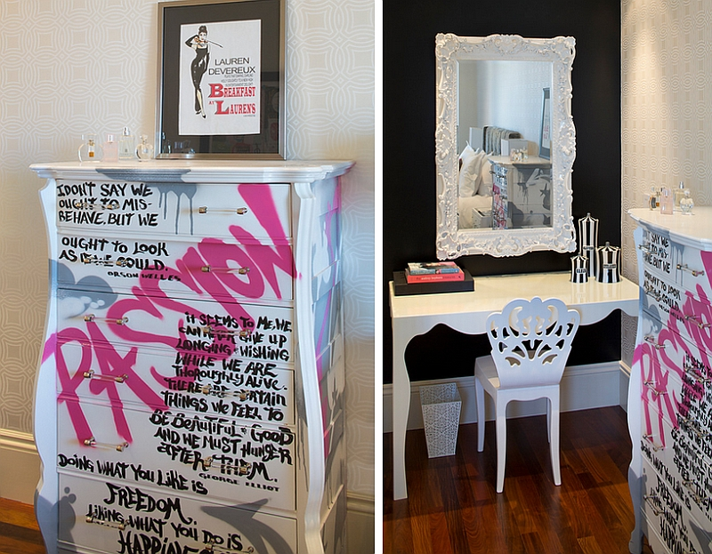 Gorgeous decor addition that brings in graffiti motif [Design: Artistic Designs for Living]