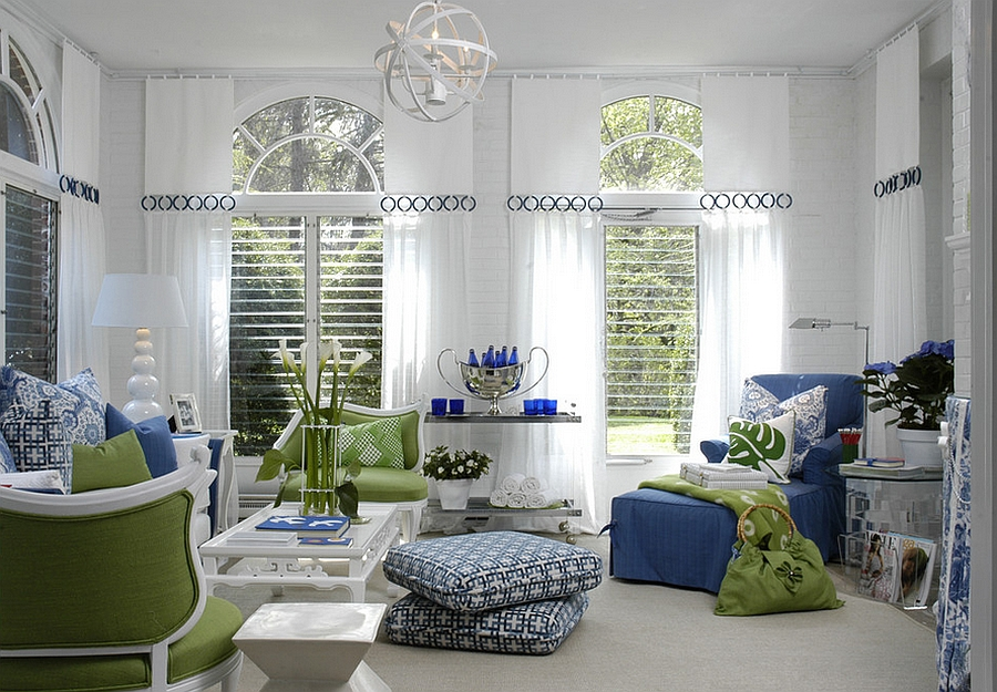 Gorgeous family room looks both relaxed and exciting