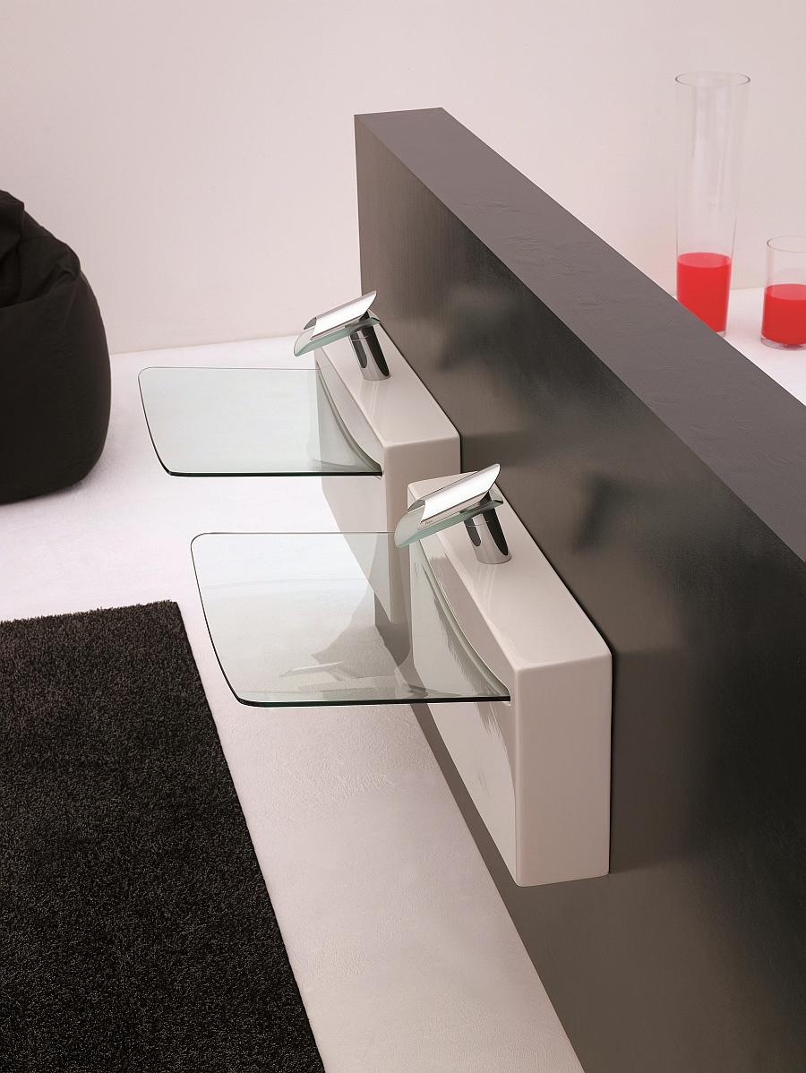 Gorgeous wallsystem washbasins steal the show in the small bathroom