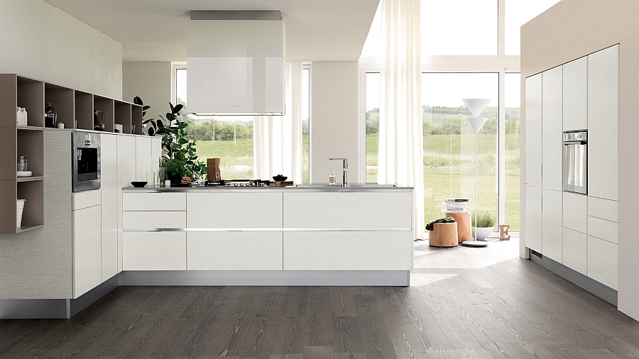Gorgeous white sheers add to the style of the contemporary kitchen