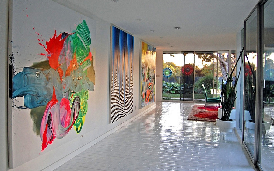 Graffiti Painted Canvases Add Color To The Contemporary Entry From Dana Nichols