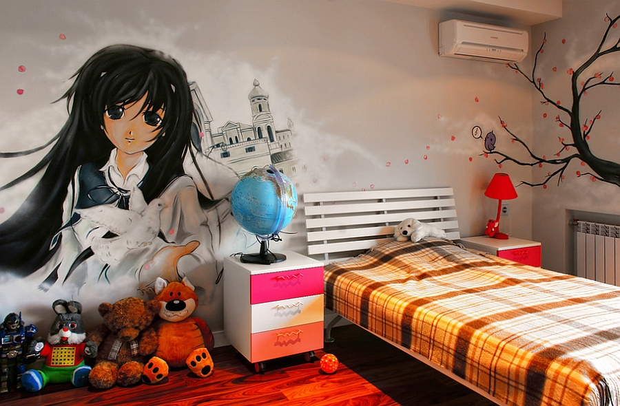 Graffiti wall covering for the modern teen girls' bedroom [Design: Studio Vyhodec]