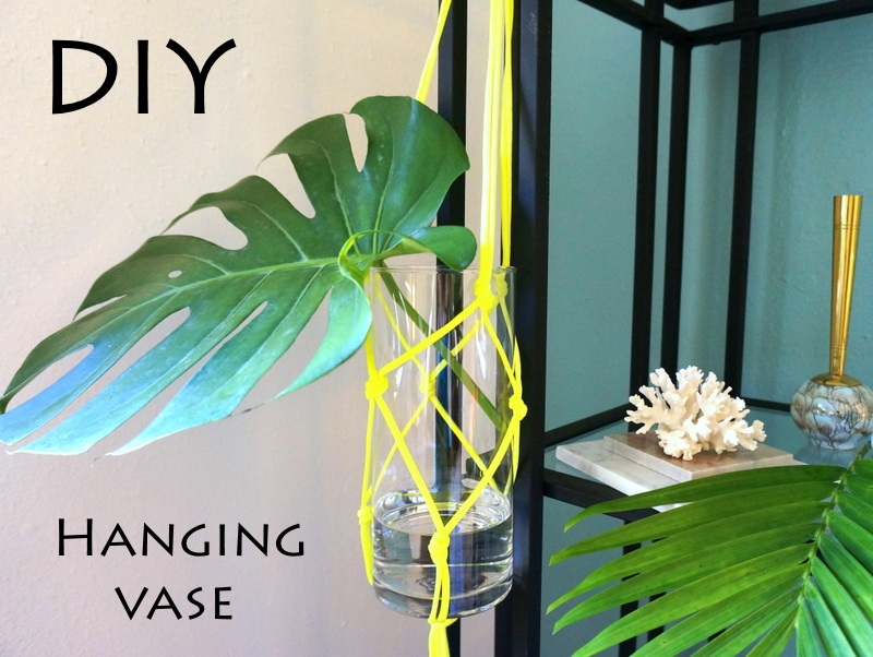 Hanging vase header A DIY Hanging Vase With Neon Cording