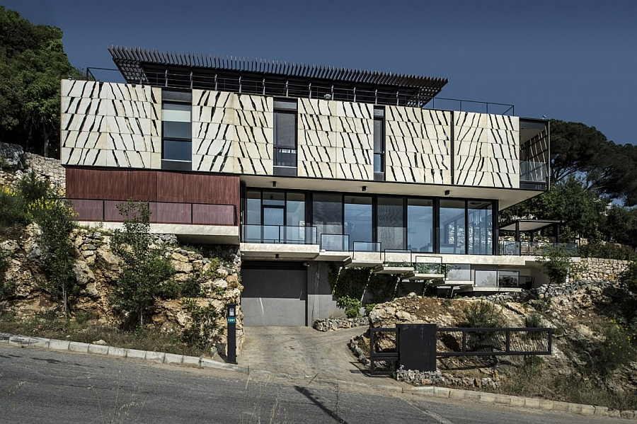 Ingenious street facade of tahan Villa in Lebanon Spectacular Tahan Villa Amazes With A Dynamic Facade And Panoramic Sea Views