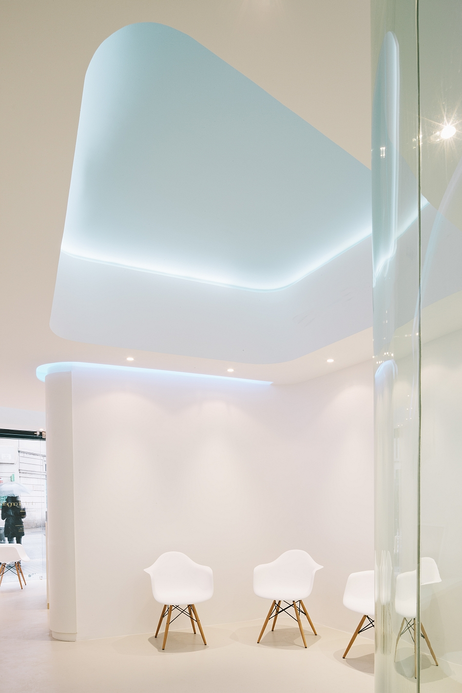 LED lighting and creative ceiling design inside the Dental Angels Office