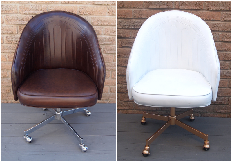 Leather chair before and after the transformation