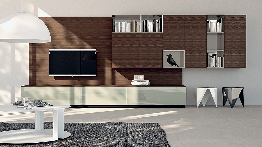Linseed doors and Morello Larch top adds warmth the the minimal living room