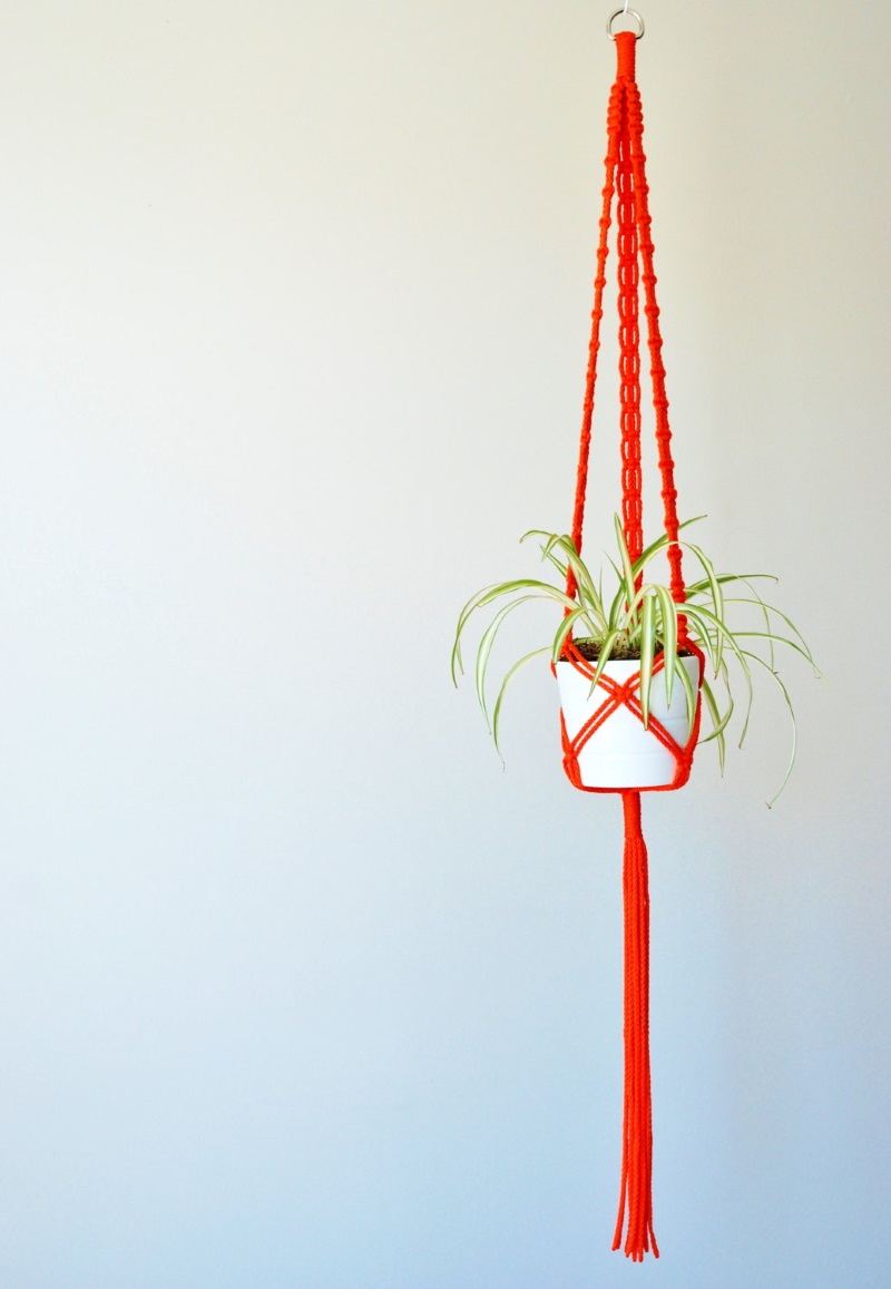 Long macrame hanging planter from The Vintage Loop