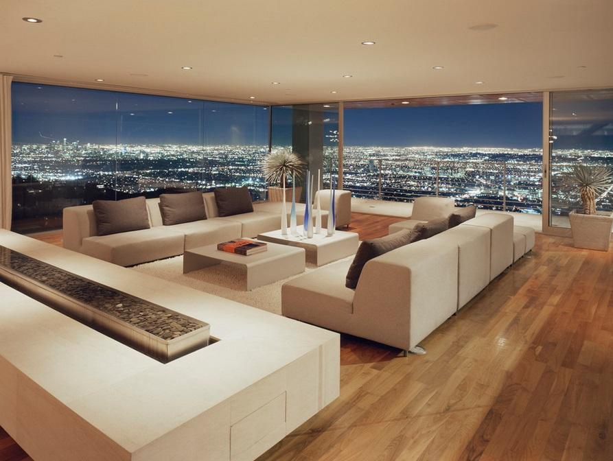 Los Angeles living room with a balcony and a city view