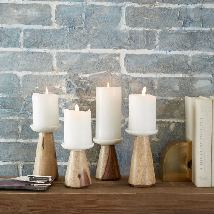 Marble and wood candleholders from West Elm
