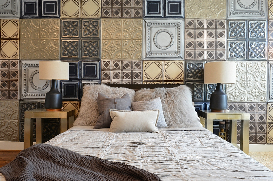 Metallic tiles create the perfect accent wall for the industrial bedroom [By Contour Interior Design]