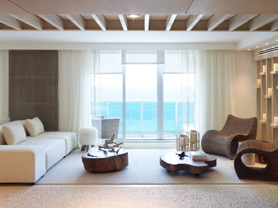Miami living room with an abundance of wooden tones
