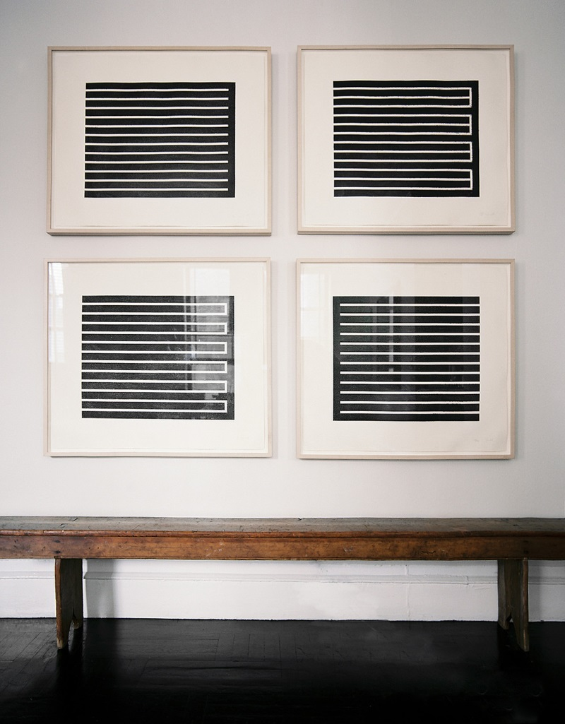 Midcentury artwork by Donald Judd in modern frames