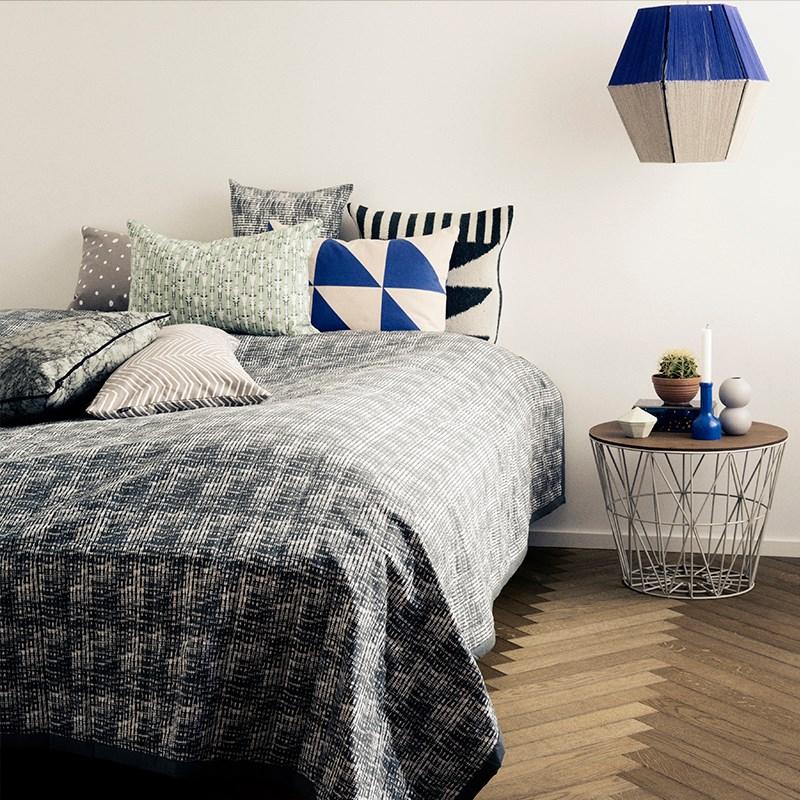 Modern bedroom with geometric lighting