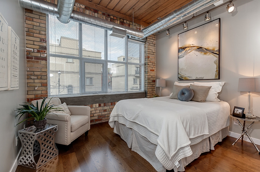 View in gallery Modern industrial loft bedroom with exposed duct work  [From: The Graces - ReMax Hallmark
