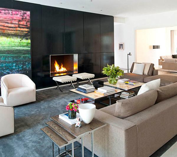 Modern living room with vibrant artwork