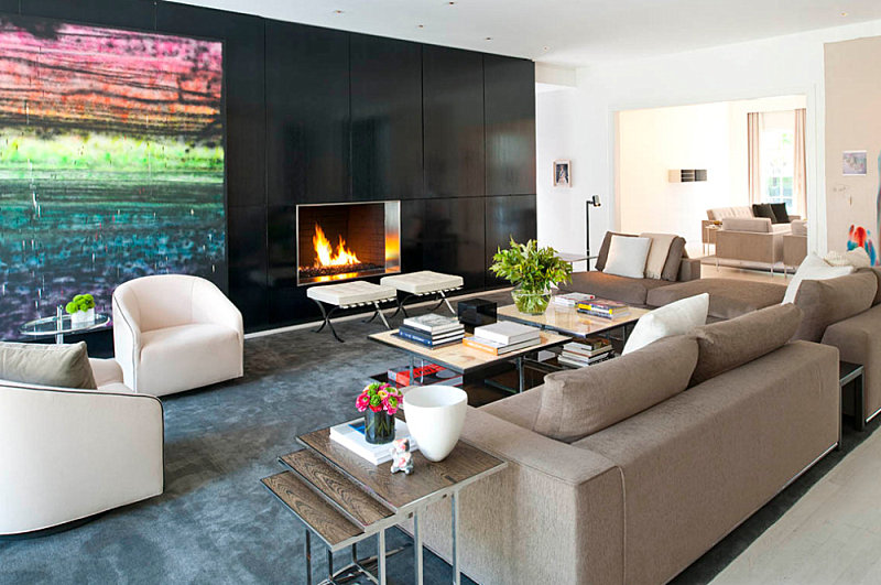Modern living room with vibrant artwork