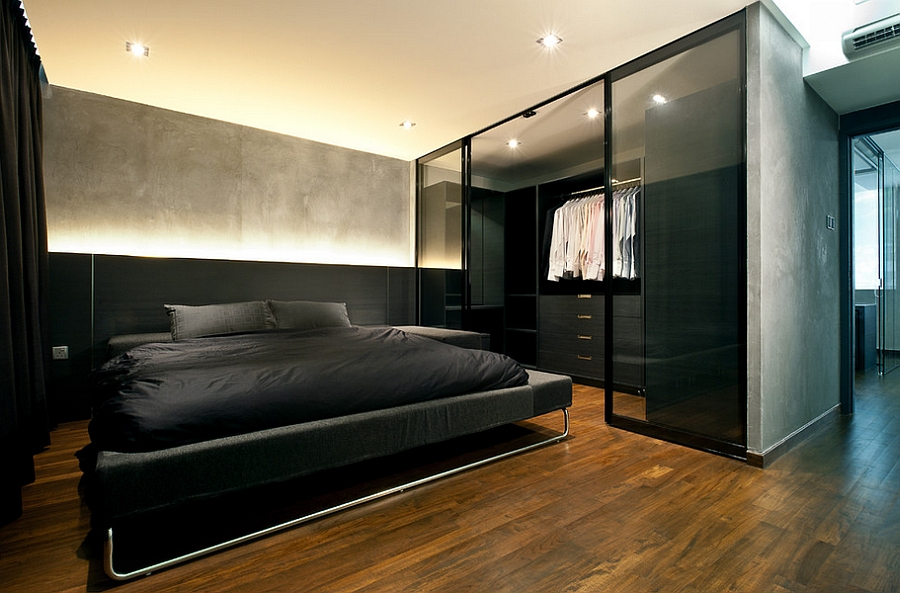 modern minimalism coupled with industrial style in the bedroom design