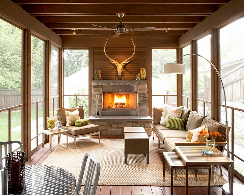 Modern porch with a midcentury flavor