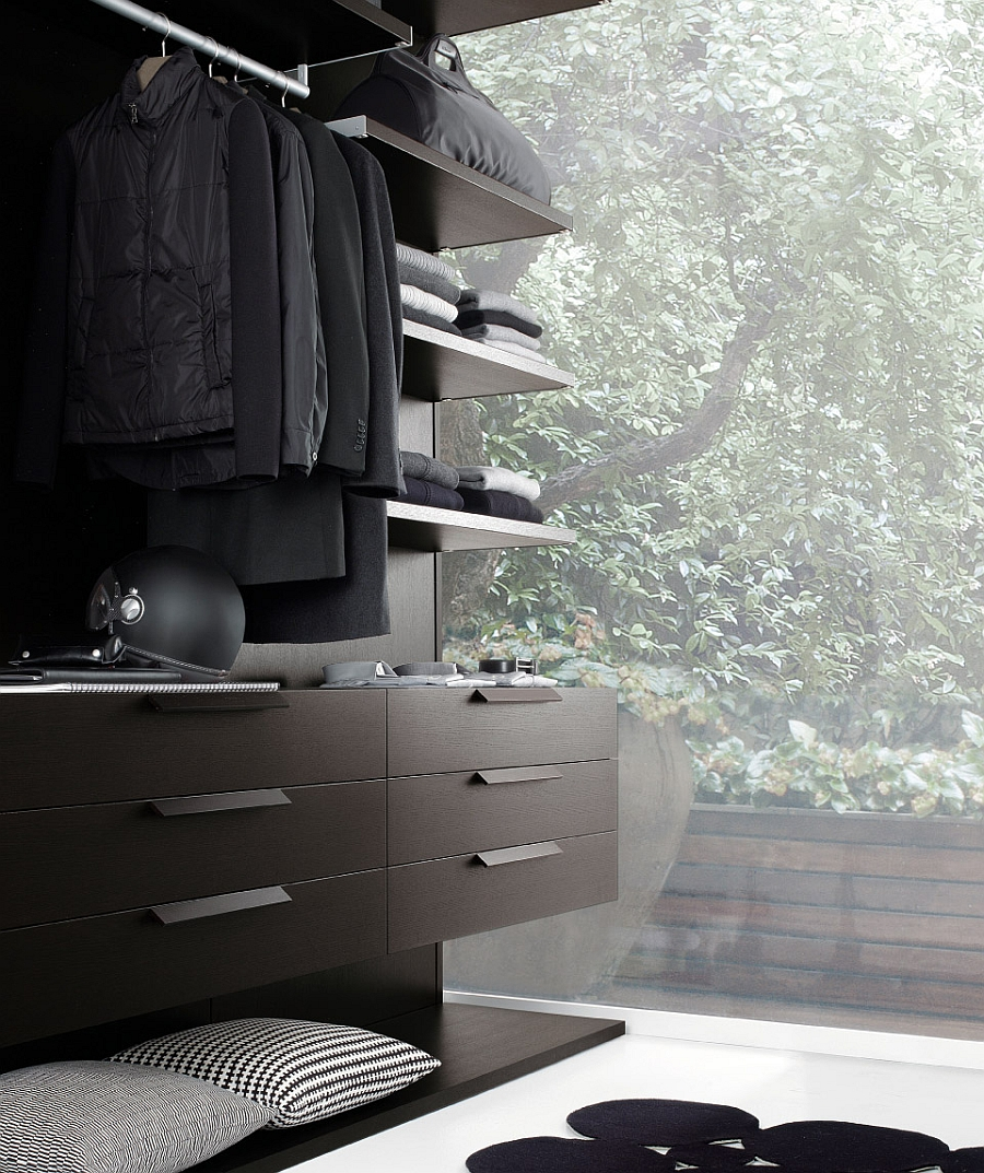Modern walk-in closet with complete range of accessories
