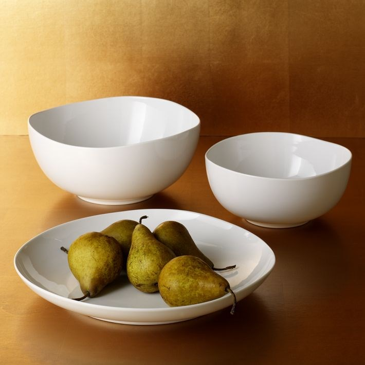 Modern white tableware from West Elm