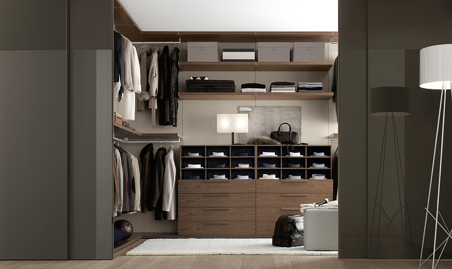Multiple cabinets offer plenty of storage space for your entire wardrobe