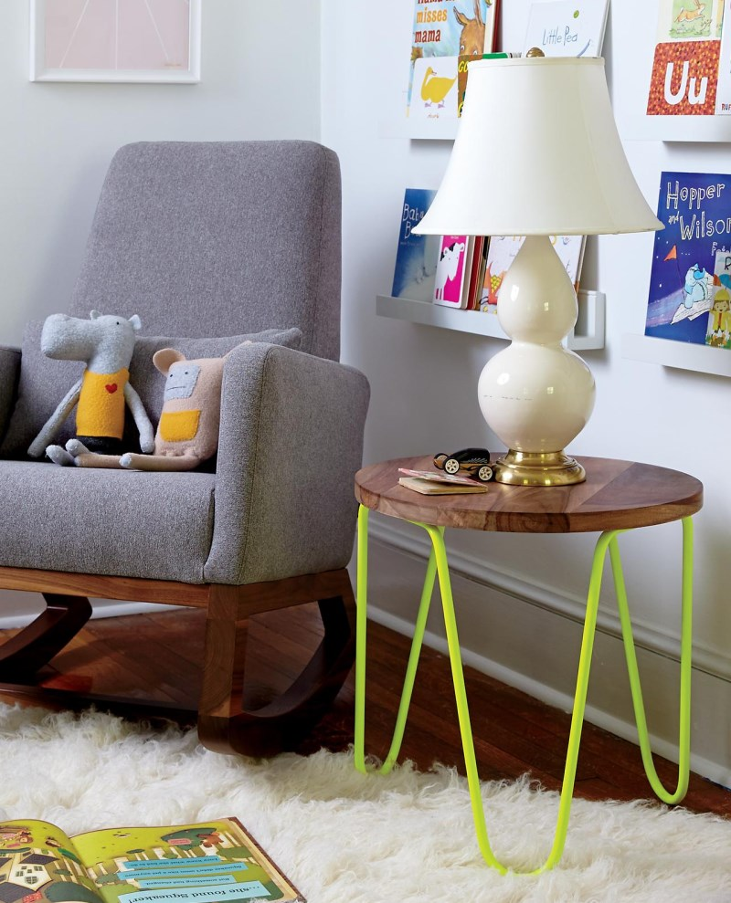 Neon yellow table with wood and metal The Latest In Kids Furniture, Textiles and Decor