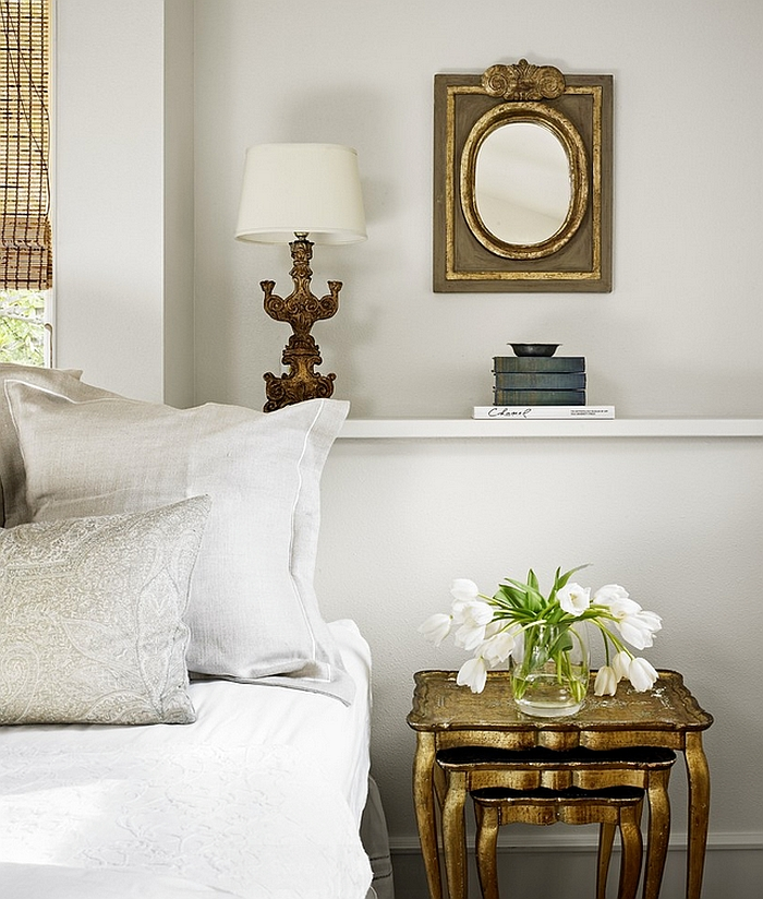 Nesting tables with golden glint double as lovely nightstand