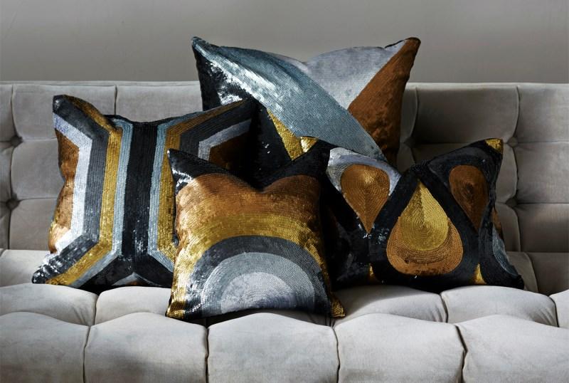 New glittering pillow offerings from Jonathan Adler
