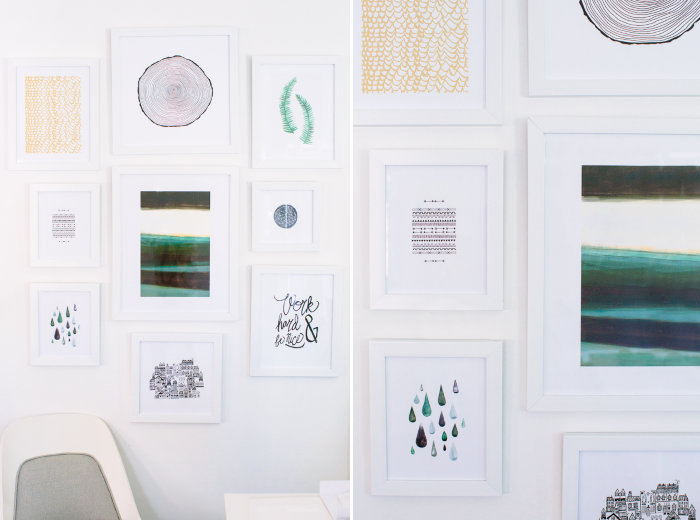 Office gallery wall with prints from Minted