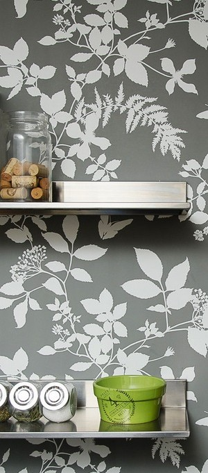 Open stainless steel shelving in a Boston kitchen