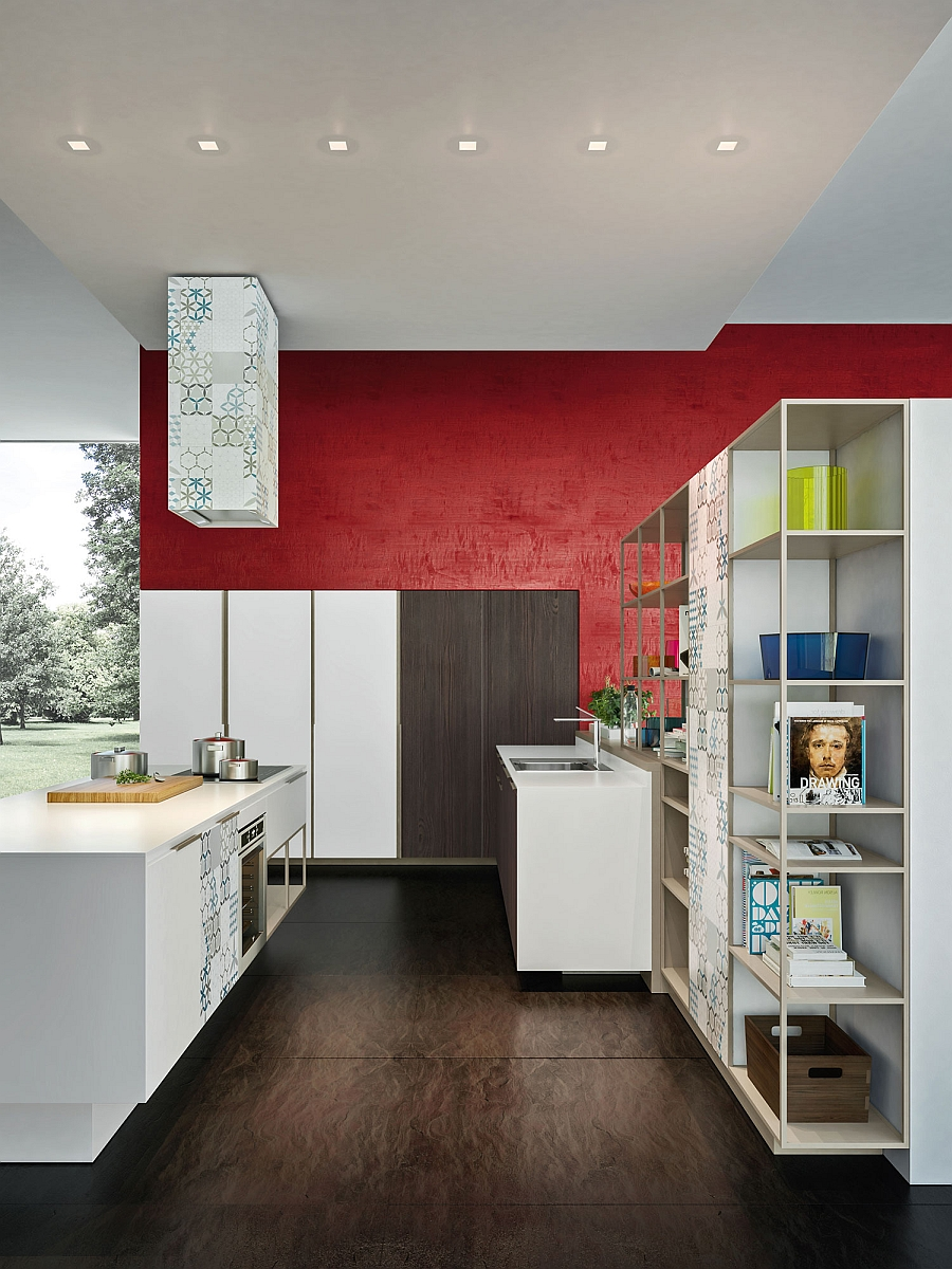 Open storage system in aluminum for the trendy modern kitchen