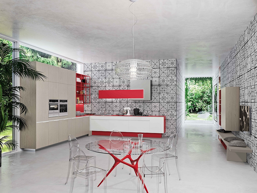 Orange Evolution kitchen in white and red for the the modern home