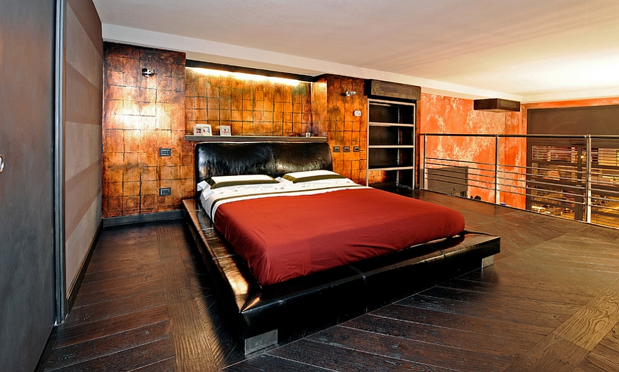 Oxidized copper plates make for a dramatic accent wall in the bedroom [Design: Marco Dellatorre]