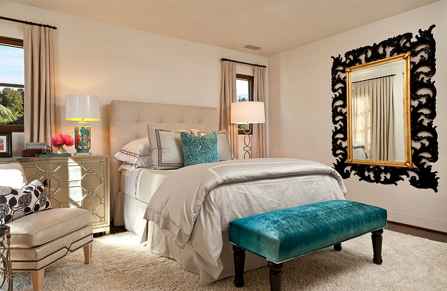 Pops of turquoise enliven the fabulous and cozy bedroom [Design: Cabana Home]