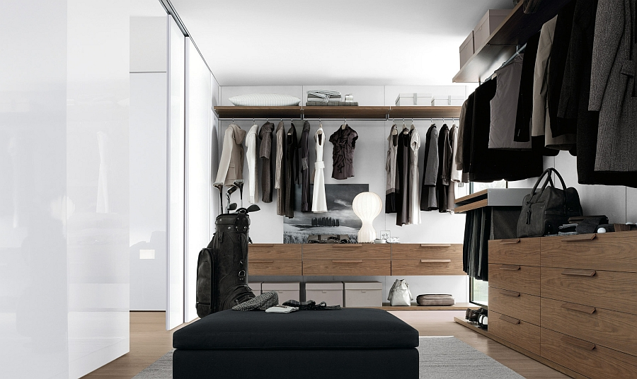 Posh Terence sofa provides a seating option inside the walk-in closet