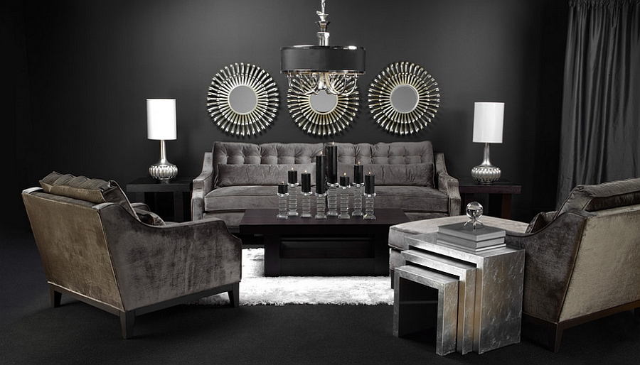 Posh living room with a multitude of textures and finishes [Design: Z Gallerie]