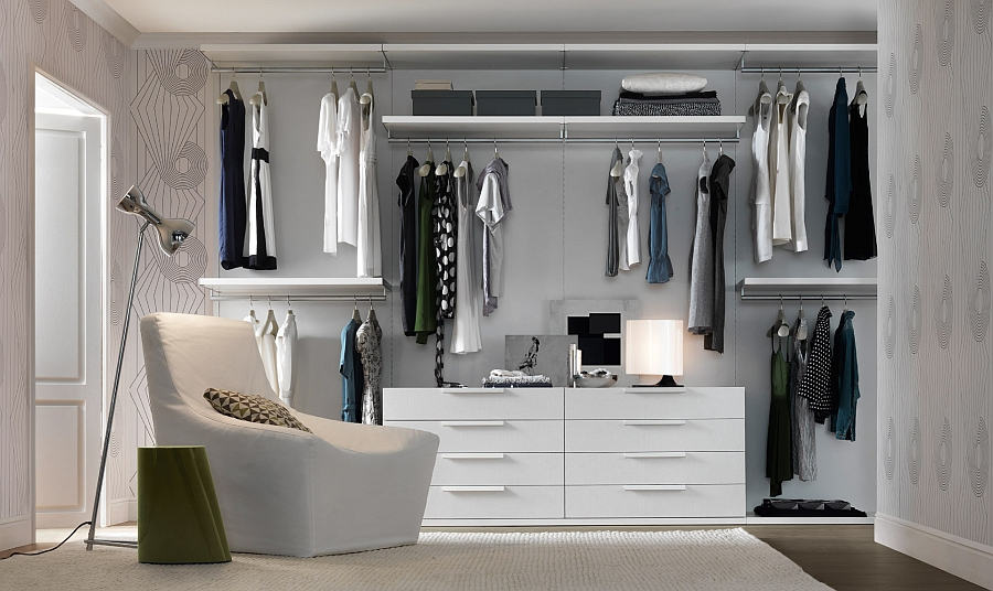 Posh walk-in closet saves up space with its ergonomic design