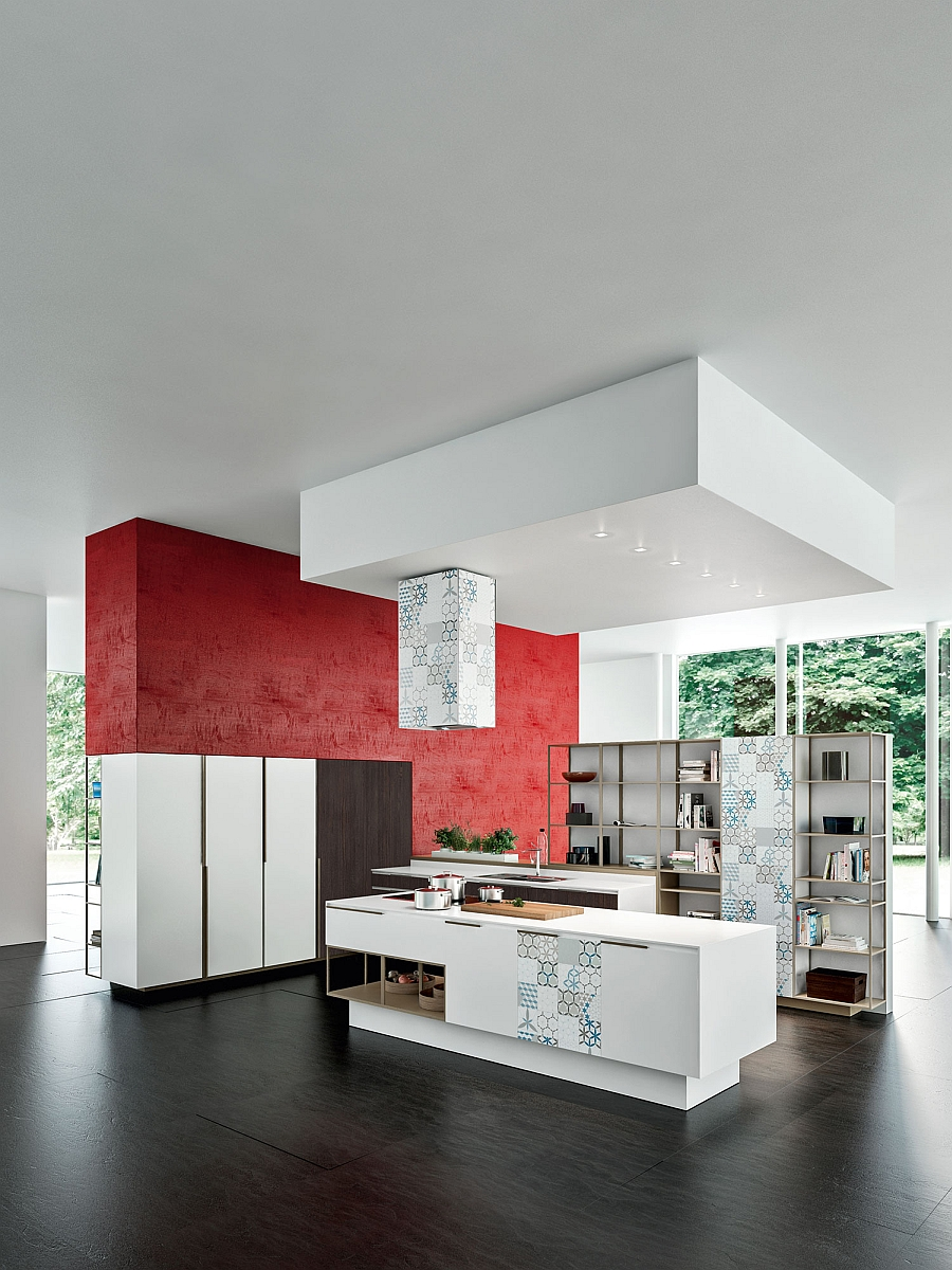 Red backsplash gives the kitchen an energetic and unique appeal