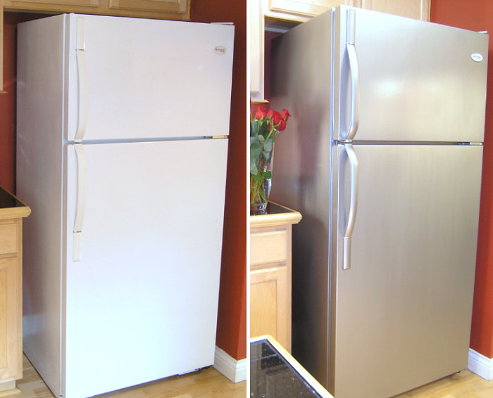 Refrigerator makeover with Thomas' Liquid Stainless Steel