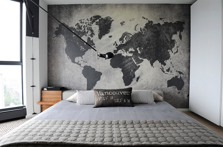Modern Industrial Bedroom   PierPointSprings com Restrained industrial style with a unique accent wall Design Gaile Guevara  Industrial  Bedroom Ideas Photos. Industrial Style Bedroom. Home Design Ideas