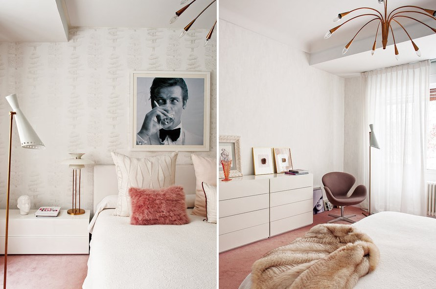 Retro-meets-modern bedroom with pink tones