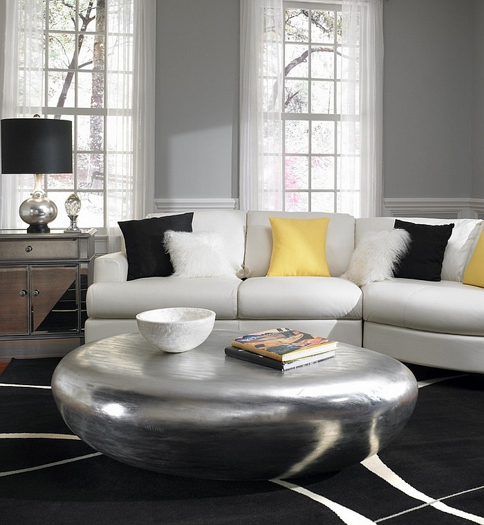 ... Riverstone Table In Silver Is The Showstopper In This Room [Design:  Phillips Collection]