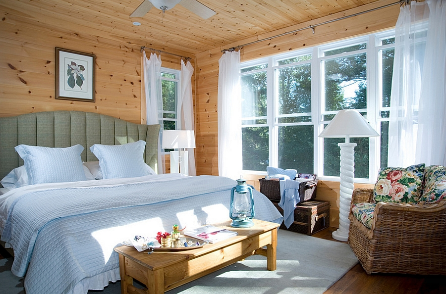 Rustic bedroom with pristine white window sheers and fall charm