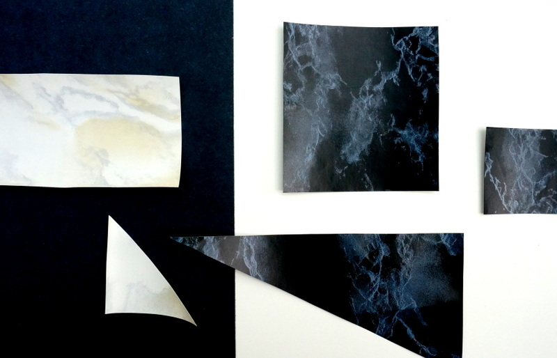 Scraps of marble contact paper