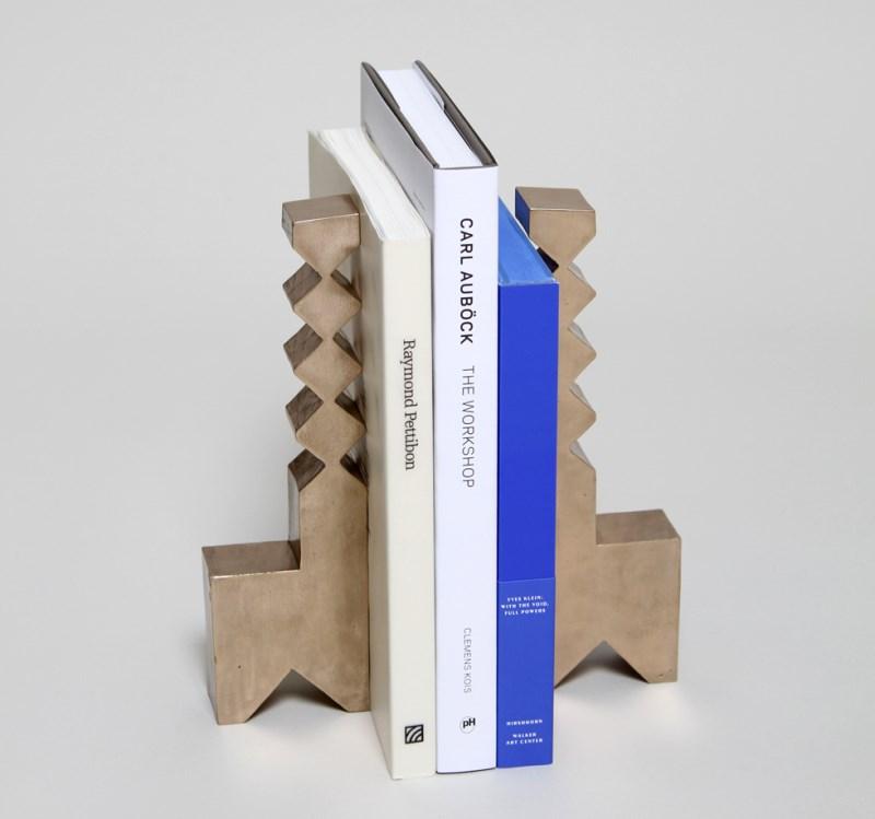 Sculptural bronze bookends from TOC Studio